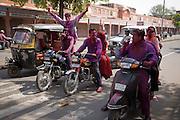 Celebrating Holi in the streets of Jaipur, Rajasthan, India
