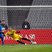 Istanbul BBS's Filip HOLOSKO (L) goal during their Turkey Cup semi final soccer firsth match Istanbul BBS between Genclerbirligi at the Ataturk Olympic stadium in Istanbul Turkey on Thursday 07 April 2011. Photo by TURKPIX