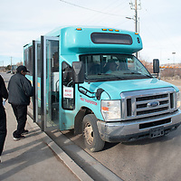 The Gallup Express Red Line bus picks up passengers Thursday afternoon at Walmart in Gallup.