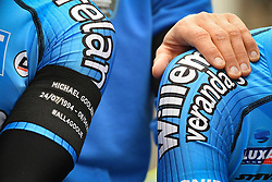 April 11, 2018 - Leuven, BELGIUM - Verandas Willems - Crelan riders pictured during a minute of silence as a tribute to the 23 year old cyclist Michael Goolaerts who died after a crash in the Paris-Roubaix race on Sunday 8 April, at the start of the 58th edition of the 'Brabantse Pijl' one day cycling race, 201,9 km from Heverlee, Leuven to Overijse, Wednesday 11 April 2018. BELGA PHOTO DAVID STOCKMAN (Credit Image: © David Stockman/Belga via ZUMA Press)