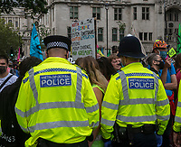 Extinction Rebellion protester at the demonstration in Parliament Square. photo by Brian Jordan