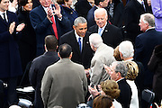 President Barack Obama greets former President Jimmy Carter as he arrive for the 68th President Inaugural Ceremony on Capitol Hill January 20, 2017 in Washington, DC. Donald Trump became the 45th President of the United States in the ceremony.