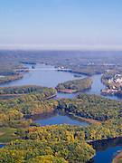Aerial view of the MIssissippi River and its sloughs, looking north toward the Highway 18 bridge near Prairie du Chien, Crawford County, Wisconsin. The Dousman House is visible just beyond the bridge on the right shore.