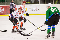 Urukalo Ziga of HDD Jesenice during Hockey match between SZ HD Olimpija and HDD Jesenice in 4tht match of Quarterfinals of Alps Hockey League, on March 13, 2018 in Hala Tivoli, Ljubljana, Slovenia. Photo by Ziga Zupan / Sportida