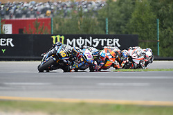 August 5, 2018 - Brno, Brno, Czech Republic - 10 Italian driver Luca Marini of Team SKY Racing Team VR46,  73 Spanish driver Alex Marquez of Team EG 0,0 Marc VDS during race in Brno Circuit for Czech Republic Grand Prix in Brno Circuit on August 5, 2018 in Brno, Czech Republic. (Credit Image: © Andrea Diodato/NurPhoto via ZUMA Press)