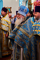 Kirghizistan, province de Issyk Koul, ville de Karakol, cérémonie dans l'eglise orthodoxe russe // Kyrgyzstan, Issyk Kul province, Karakol city, ceremony in a Russian Orthodox church