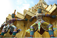 Yaksha Guardians at Wat Phra Kaew, regarded as the most sacred temple in Thailand located inside the grounds of the Grand Palace. The guardians surround this particular stupa.