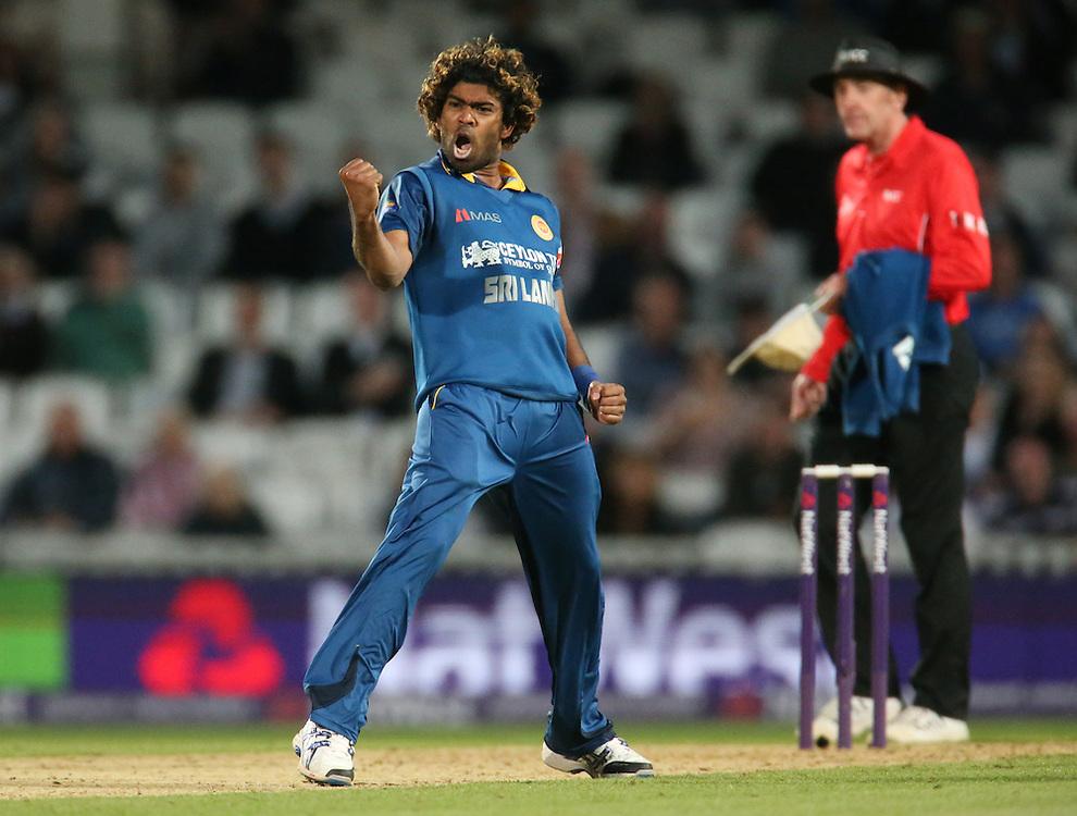 Sri Lanka's Lasith Malinga celebrates the wicket of Englans's Alex Hales<br /> <br /> Photographer Kieran Galvin/CameraSport<br /> <br /> International Cricket - 2014 NatWest International T20 - England v Sri Lanka - Tuesday 20th May 2014 - The Kia Oval - London<br /> <br /> © CameraSport - 43 Linden Ave. Countesthorpe. Leicester. England. LE8 5PG - Tel: +44 (0) 116 277 4147 - admin@camerasport.com - www.camerasport.com