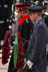 Prince Harry (left) and the Duke of Cambridge prepare to lay wreaths during the annual Remembrance Sunday Service at the Cenotaph memorial in Whitehall, central London, held in tribute for members of the armed forces who have died in major conflicts.