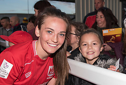 Chloe Arthur of Bristol City Women poses with a young fan - Mandatory by-line: Paul Knight/JMP - 20/05/2017 - FOOTBALL - Stoke Gifford Stadium - Bristol, England - Bristol City Women v Liverpool Ladies - FA Women's Super League Spring Series