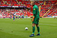 Shrewsbury Town goalkeeper Joel Coleman (1) prepares to take a goal kick during the EFL Sky Bet League 1 match between Charlton Athletic and Shrewsbury Town at The Valley, London, England on 11 August 2018.