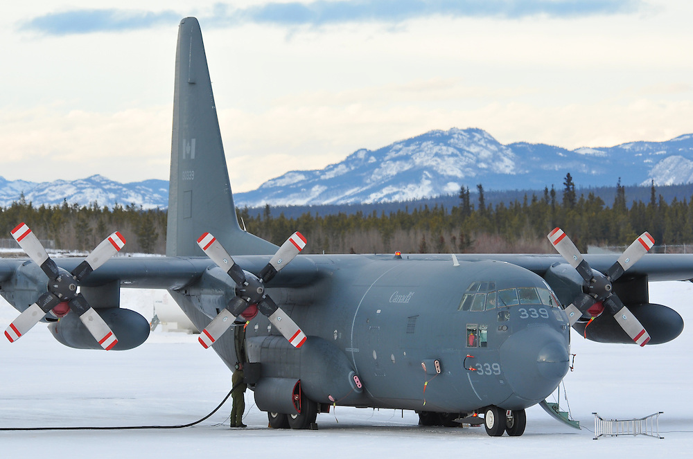 RCAF CC-130 Hercules refuels at Whitehorse International Airport