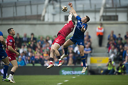 May 27, 2018 - Dublin, Ireland - Steffan Evans of Scarlets and Jordan Larmour of Leinster jump for the ball during the Guinness PRO14 Final match between Leinster Rugby and Scarlets at Aviva Stadium in Dublin, Ireland on May 26, 2018  (Credit Image: © Andrew Surma/NurPhoto via ZUMA Press)