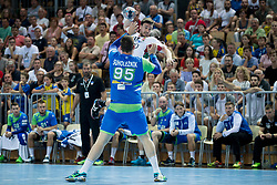 Matic Suholeznik of Slovenia and Mate Lekai of Hungary during handball game between Man National Teams of Slovenia and Hungary in 2019 Man's World Championship Qualification, on June 9, 2018 in Arena Bonifika, Ljubljana, Slovenia. Photo by Urban Urbanc / Sportida