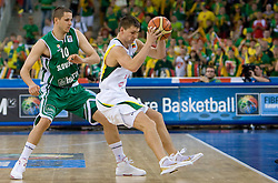 Bostjan Nachbar (10) of Slovenia vs Arturas Jomantas of Lithuania during the EuroBasket 2009 Group F match between Slovenia and Lithuania, on September 12, 2009 in Arena Lodz, Hala Sportowa, Lodz, Poland.  (Photo by Vid Ponikvar / Sportida)