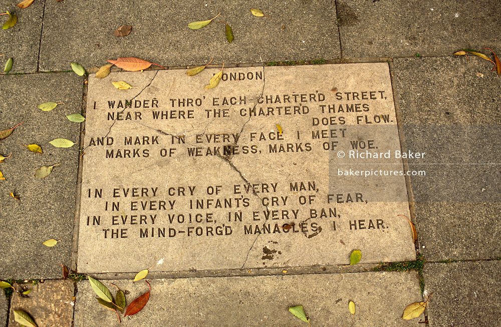 William Blake's poem London is written in the pavement at Bunhill Fields, the place in the City of London where the poet is buried. London is a poem by William Blake, published in Songs of Experience in 1794. William Blake was a poet and artist who specialised in illuminated texts, often of a religious nature. He rejected established religion for various reasons, including the failure of the established Church to help children in London who were forced to work. Blake lived and worked in the capital, so he was arguably well placed to write clearly about the conditions people who lived there faced.
