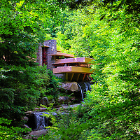 """""""Shadows of Brilliance""""<br /> <br /> This lovely image of the wondrous architecture and landscape of the famous home Fallingwater is a fabulous vision with the large tree in the right front of the image, and the lush green woodlands that surround it during the summertime!!<br /> <br /> Laurel Highlands Area of Pennsylvania by Rachel Cohen"""