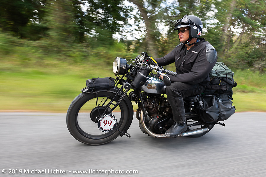 Todd Cameron riding his 1930 BSA Sloper in memory of his Grandfather, JD John Cameron, a motorcycle racer, restorer and founding member of the Boozefighters MC, to a first place win in the Cross Country Chase motorcycle endurance run from Sault Sainte Marie, MI to Key West, FL. (for vintage bikes from 1930-1948). 287 mile ride of Stage-8 from Tallahassee to Lakeland, FL USA. Friday, September 13, 2019. Photography ©2019 Michael Lichter.