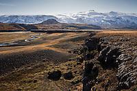 Trollagja, near river Markarfljot. Glacier Eyjafjallajokull in background.<br /> <br /> Tröllagjá, nærri Markarfljóti. Eyjafjallajökull í baksýn.