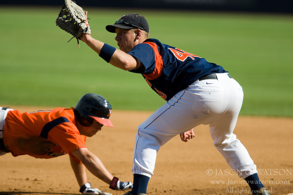 Virginia Cavaliers C J.C. Poma (40)..The Virginia Cavaliers baseball team held a seven game Orange and Blue World Series at Davenport Field in Charlottesville, VA.  Images are from Game 6 held on October 22, 2007.