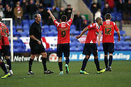 Walsall's Milan Lalkovic celebrates after scoring his sides 1st goal against Tranmere Rovers. Skybet football league 1 match, Tranmere Rovers v Walsall at Prenton Park in Birkenhead, England on Saturday 11th Jan 2014.<br /> pic by Chris Stading, Andrew Orchard sports photography.