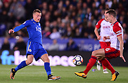 Jamie Vardy of Leicester city battles with Jonny Evans of West Bromwich Albion .Premier league match, Leicester City v West Bromwich Albion at the King Power Stadium in Leicester, Leicestershire on Monday 16th October 2017.<br /> pic by Bradley Collyer, Andrew Orchard sports photography.