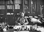 Alexei Nikolaievich Kuropatkin (1848-1925) in his library.  Russian soldier, Commander-in-Chief in Manchuria in Russo-Japanese War, 1904-1905.
