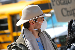 People with face mask in Union Square during the Covid-19 pandemic in New York City, NY, USA on April 22, 2020. The Big Apple neared a painful milestone Wednesday as the death toll from the coronavirus outbreak that has ravaged the five boroughs approached 15,000. The pandemic has claimed the lives of 14,996 New Yorkers, with new 569 fatalities reported in the most recent 24-hour period, according to data from the city's Department of Health. Photo by Charles Guerin/ABACAPRESS.COM