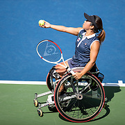 2019 US Open Tennis Tournament- Day Fourteen.  Yui Kamiji of Japan i in action against Diede De Groot of The Netherlands in the Wheelchair Women's Singles Final on Louis Armstrong Stadium during the 2019 US Open Tennis Tournament at the USTA Billie Jean King National Tennis Center on September 8th, 2019 in Flushing, Queens, New York City.  (Photo by Tim Clayton/Corbis via Getty Images)