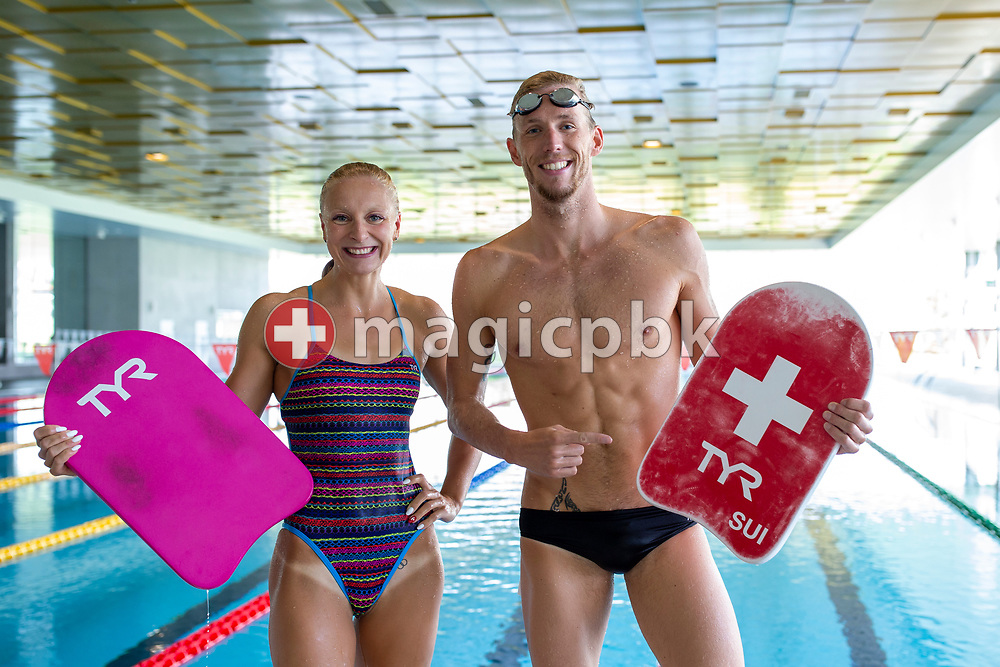 (L-R) Maria UGOLKOVA and Jeremy DESPLANCHES of Switzerland are pictured during a training session during the Swiss Swimming Training Camp for the World Championships Team in Uster, Switzerland, Saturday, July 6, 2019. (Photo by Patrick B. Kraemer / MAGICPBK)