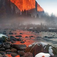 Early winter sunset light on El Capitan, Yosemite National Park, California.
