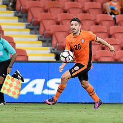 BRISBANE, AUSTRALIA - JANUARY 31: Brandon Borrello of the Roar in action during the second qualifying round of the Asian Champions League match between the Brisbane Roar and Global FC at Suncorp Stadium on January 31, 2017 in Brisbane, Australia. (Photo by Patrick Kearney/Brisbane Roar)