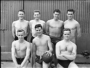 Swimming - Irish Universities vs English Universities at Clontarf Baths.The Irish Universities Water Polo Team.18/07/1953