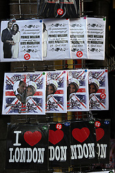 21 April 2011. London, England..Tourist trinkets at a tourist shop near Buckingham Palace in the run up to Catherine Middleton's marriage to Prince William..Photo; Charlie Varley.