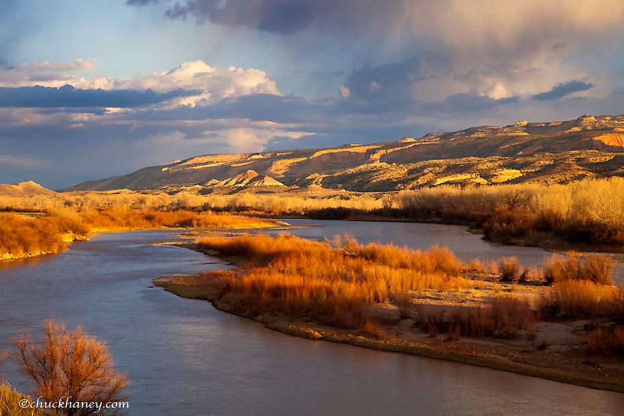 Stormy light over the Colorado River and Colorado National Monument near Fruita Colorado