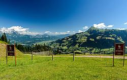 THEMENBILD - Der Blick in das Gschöss mit dem Wilden Kaiser und dem Kitzbüheler Horn im Hintergrund, aufgenommen am 26. Juni 2017, Kitzbühel, Österreich // The view into the Gschöss with the Wilder Kaiser and the Kitzbüheler Horn in the background at the Streif, Kitzbühel, Austria on 2017/06/26. EXPA Pictures © 2017, PhotoCredit: EXPA/ Stefan Adelsberger