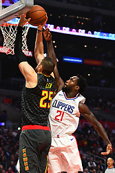 January 29, 2019 - Los Angeles, CA, U.S. - LOS ANGELES, CA - JANUARY 28: Atlanta Hawks Center Alex Len (25) goes up for a shot defended by Los Angeles Clippers Guard Patrick Beverley (21) during a NBA game between the Atlanta Hawks and the Los Angeles Clippers on January 28, 2019 at STAPLES Center in Los Angeles, CA. (Photo by Brian Rothmuller/Icon Sportswire) (Credit Image: © Brian Rothmuller/Icon SMI via ZUMA Press)