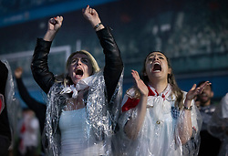 © Licensed to London News Pictures. 11/07/2021. London, UK. England supporters react to the penalty shoot out as they watch to the EURO 2020 final between Italy and England on giant screens in the Trafalgar Square fan zone in central London. Photo credit: Peter Macdiarmid/LNP