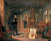 Portrait of Thomas Faed in his Studio', oil on canvas.   John Ballantye (1815-1897) British painter.  Faed (1826-1900) Scottish painter of domestic genre scenes looking at a picture on an easel.