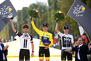 Podium, Geraint Thomas (GBR - Team Sky) Yellow Jersey, winner, trophy, Tom Dumoulin (NED - Team Sunweb), 2nd, Christopher Froome (GBR - Team Sky) 3rd during the 105th Tour de France 2018, Stage 21, Houilles - Paris Champs-Elysees (115 km) on July 29th, 2018 - Photo Luca Bettini / BettiniPhoto / ProSportsImages / DPPI