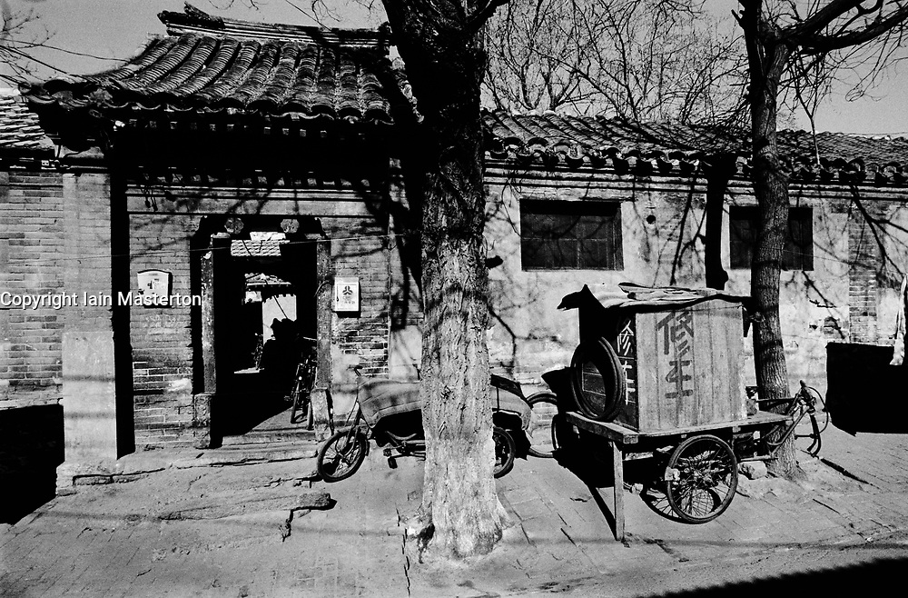 Exterior of old house in a Beijing hutong in China