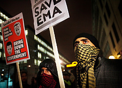 © under license to London News Pictures. Save EMA (Educational Maintenance Allowance) protest in Victoria St, London outside the Department for Innovation and Skills (13/12/10) Photo credit should read: Olivia Harris/ London News Pictures