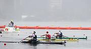"Rio de Janeiro. BRAZIL.  2016 Men's single sculls semi final A/B left to right. NZL M1X, Mahe DRYSDALE, BEL M1X, Hannes OBRENO and Alan CAMPBELL  2016 Olympic Rowing Regatta. Lagoa Stadium,<br /> Copacabana,  ""Olympic Summer Games""<br /> Rodrigo de Freitas Lagoon, Lagoa. Local Time 10:06:53  Friday  12/08/2016 <br /> [Mandatory Credit; Peter SPURRIER/Intersport Images]"