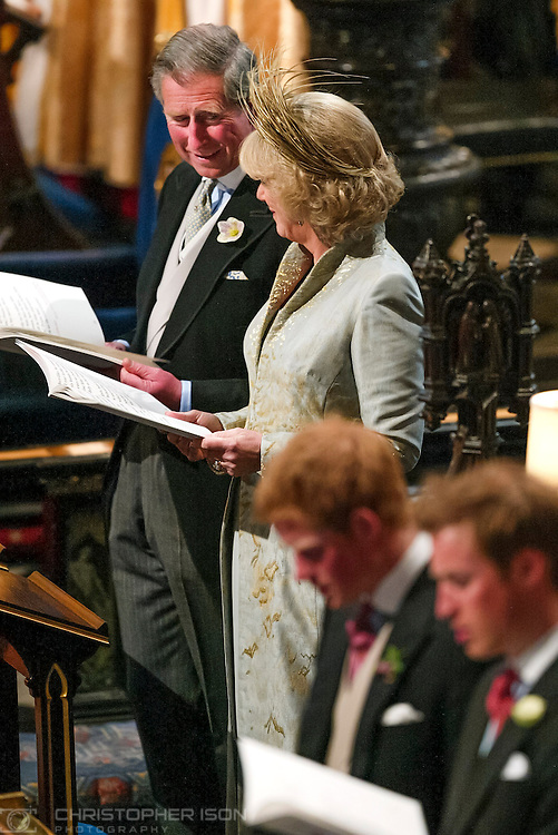 His Royal Highness The Prince Of Wales and his new bride The Duchess of Cornwall share an affectionate glance at the Service of Prayer and Dedication in St George's Chapel, Windsor Castle today Saturday 9th April, 2005 following their wedding at the nearby Guildhall.