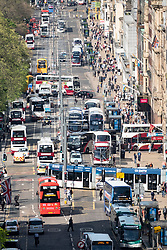 Busy traffic on Princes Street shopping street in central Edinburgh, Scotland, UK