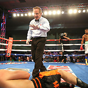 ORLANDO, FL - OCTOBER 04: Austin Marcum lies on the canvas after a knockdown during a professional boxing match against Esquiva Falcao, 2012 Olympic silver medalist from Brazil, at the Bahía Shriners Auditorium & Events Center on October 4, 2014 in Orlando, Florida. (Photo by Alex Menendez/Getty Images) *** Local Caption *** Esquiva Falcao; Austin Marcum