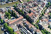 Nederland, Noord-Holland, Amsterdam, 29-06-2018; centrum van de stad, Nieuwmarktbuurt, met diagonaal Recht Boomssloot, richting Oude Schans, Krom Boomssloot (rechts). Montelbaanstraat.<br /> City centre, Nieuwmarkt quarter.<br /> <br /> luchtfoto (toeslag op standard tarieven);<br /> aerial photo (additional fee required);<br /> copyright foto/photo Siebe Swart
