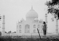British photographer Jayne Fincher seen on assignment in Agra, India in 2000.