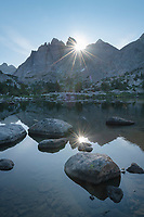 Sunburst rays over Mount Bonneville and Little Bonneville Lake. Bridger Wilderness, Wind River Range Wyoming