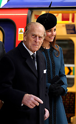 The Duchess of Cambridge and The Duke of Edinburgh, during a visit to Baker Street Tube Station in London to mark 150th anniversary of the London Underground.